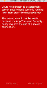 The resource could not be loaded because the App Transport Security policy requires the use of a secure connection.